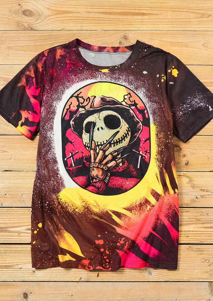 Halloween Jack Freddy Skull Bleached T-Shirt Tee