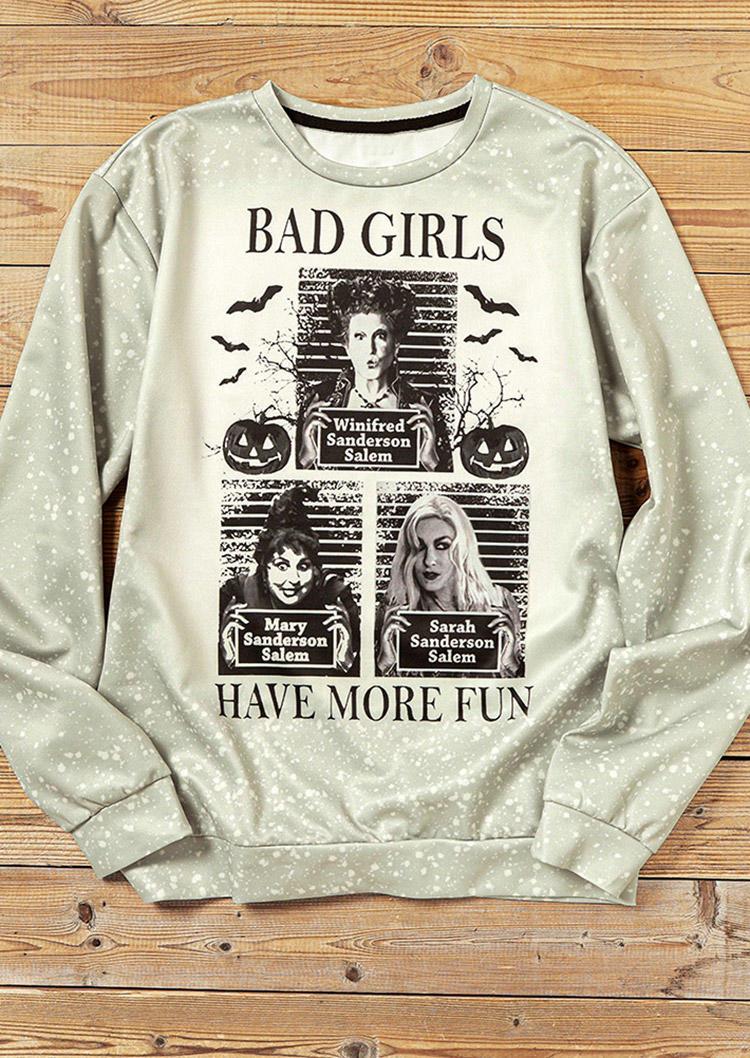 Halloween Bad Girls Pumpkin Bleached Sweatshirt - Light Khaki