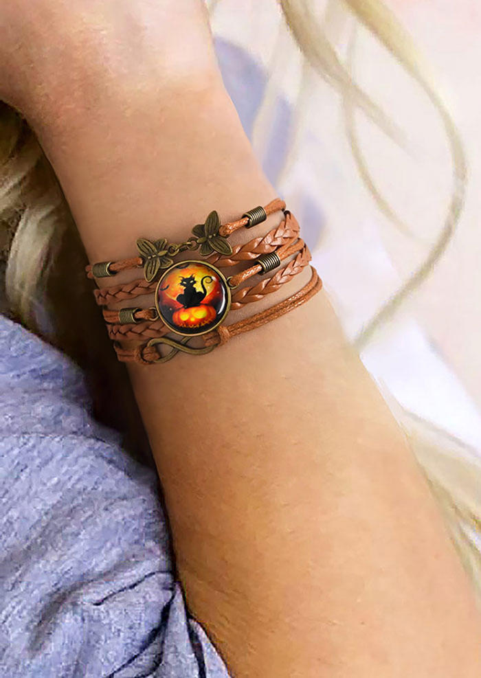 Halloween Pumpkin Cat Multi-Layered Braided Bracelet
