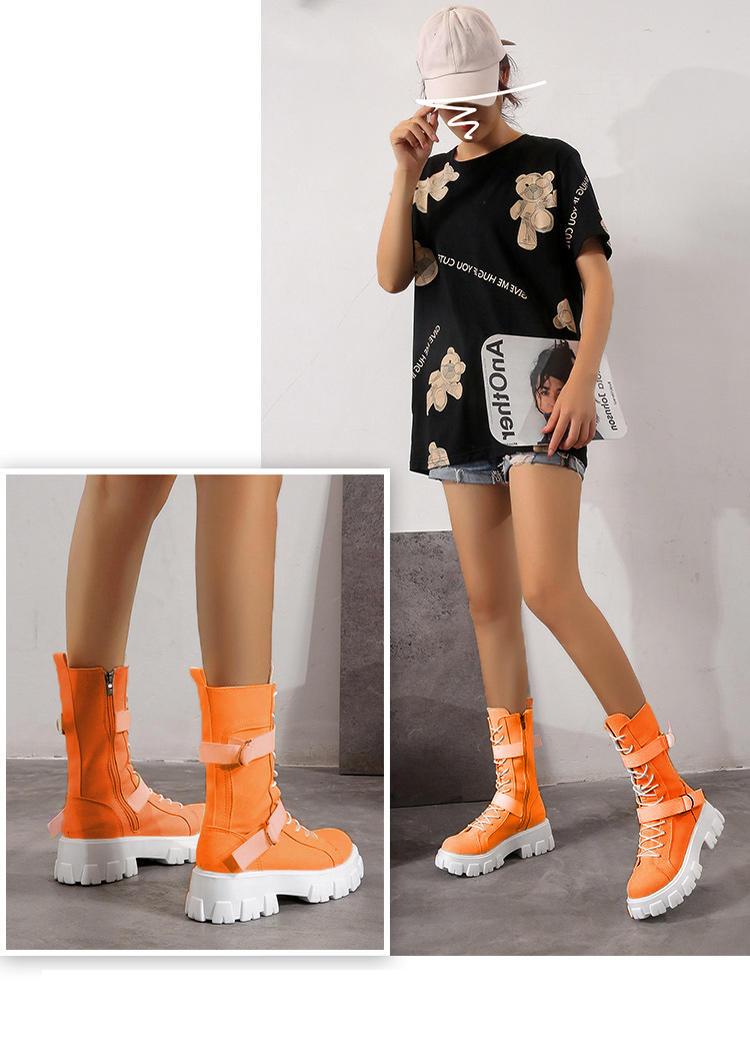 Zipper Buckle Criss-Cross Boots - Orange