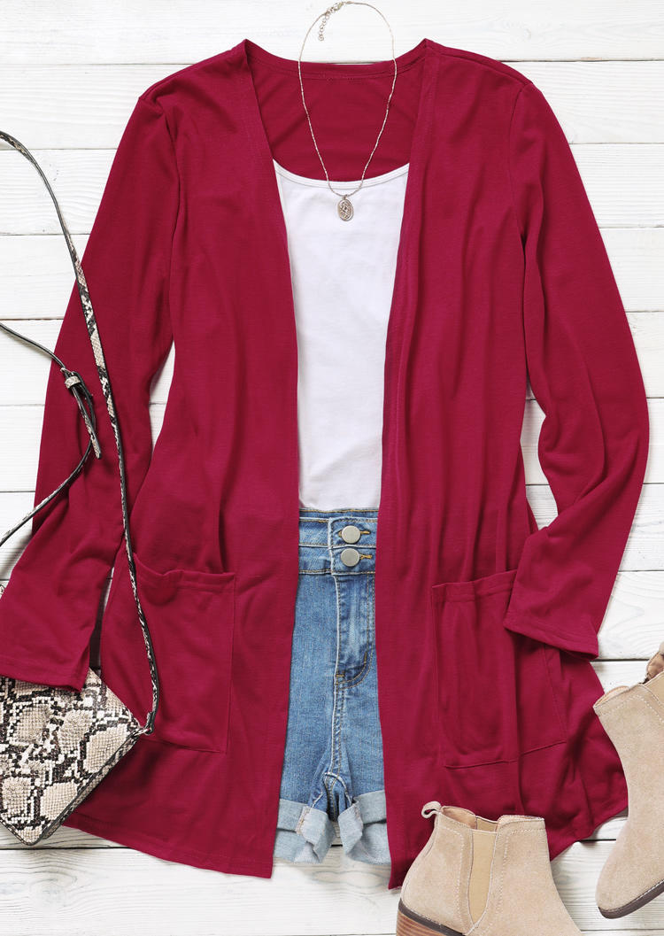 Pocket Long Sleeve Casual Cardigan - Red