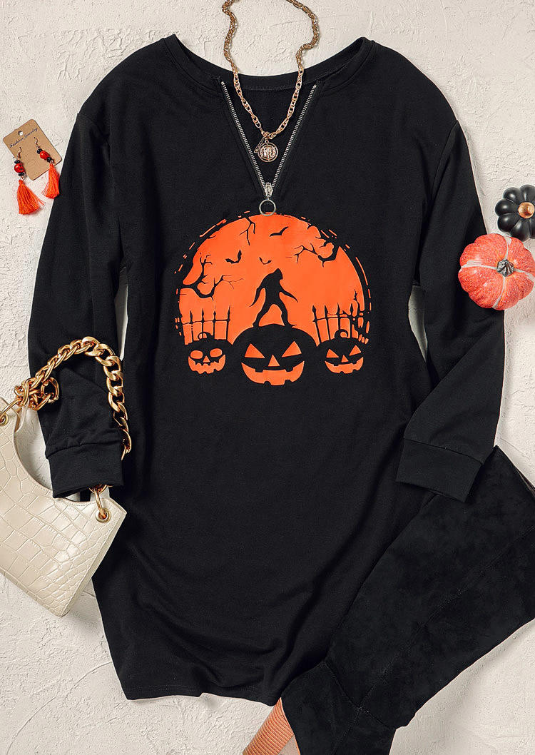 Halloween Pumpkin Face Bat Mini Dress - Black