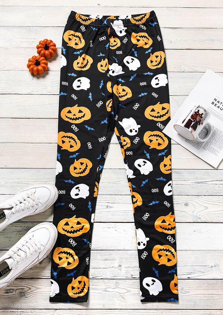 Halloween Pumpkin Ghost Elastic Waist Leggings - Black