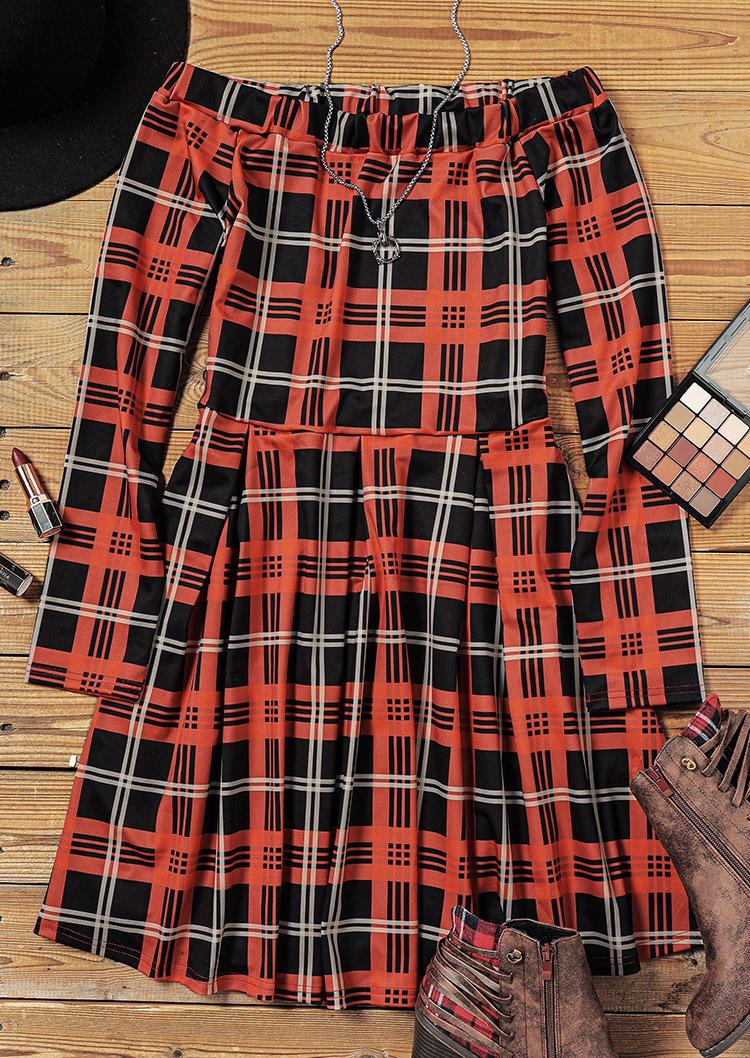 Plaid Ruffled OffShoulder Long Sleeve Mini Dress