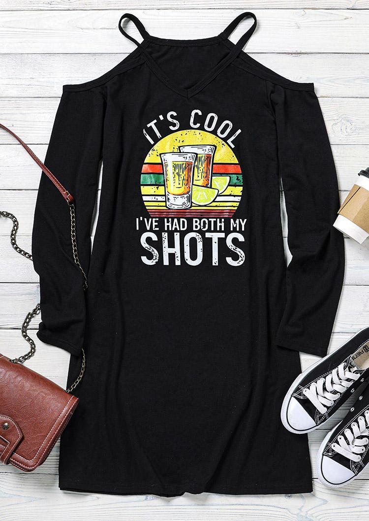 It's Cool I've Had Both My Shots ColdShoulder Mini Dress - Black