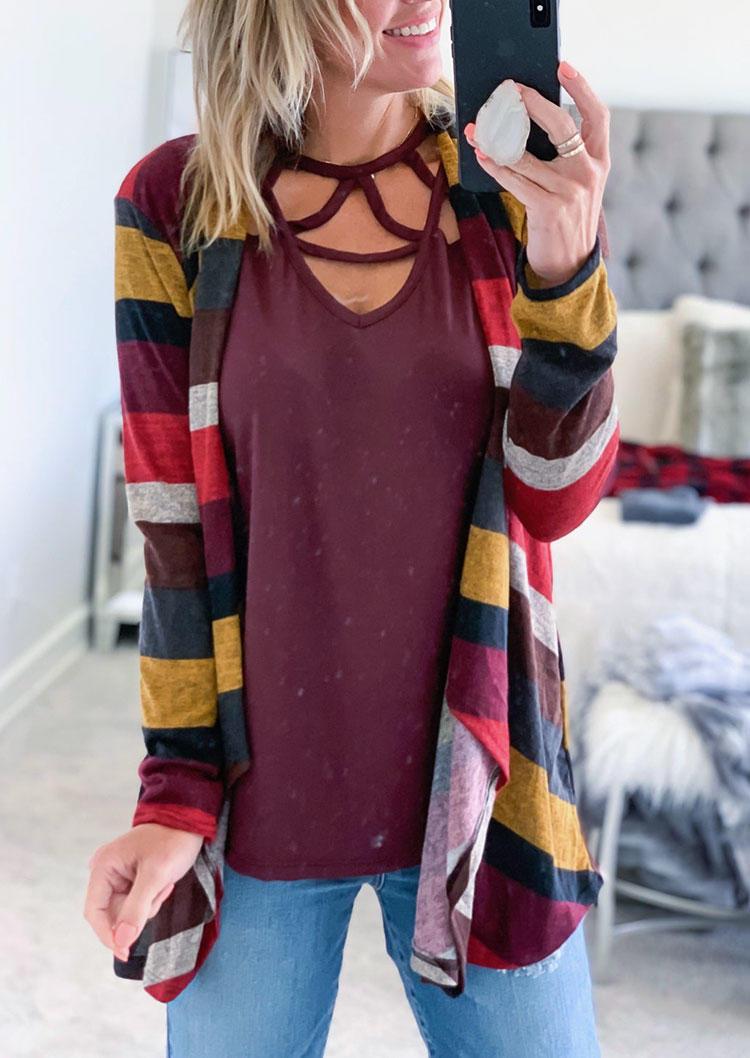 Colorful Striped LongSleeve Cardigan