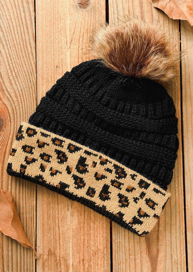 Leopard Knitted Warm Beanie Hat