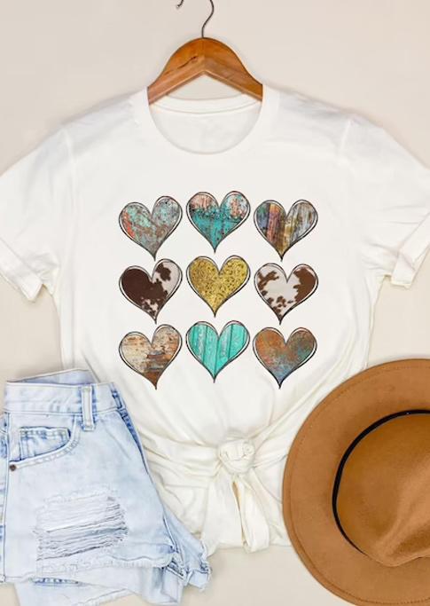 Western Heart Short Sleeve T-Shirt Tee - White