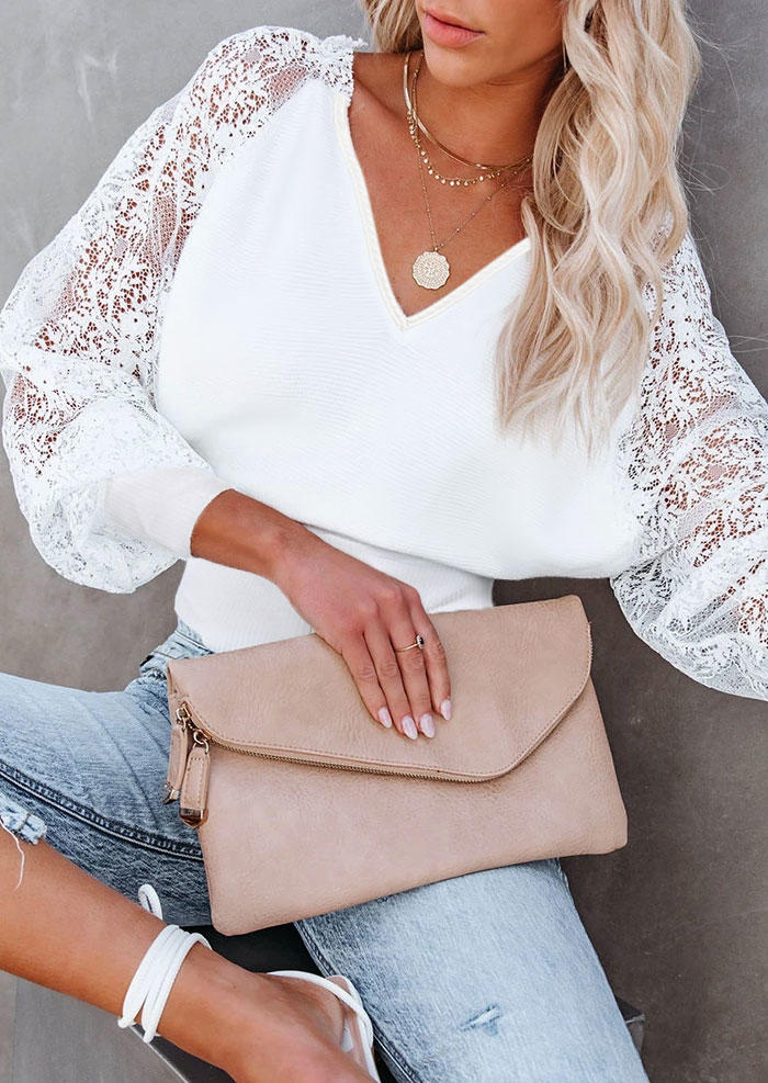 Lace Splicing Hollow Out V-Neck Sweater - White