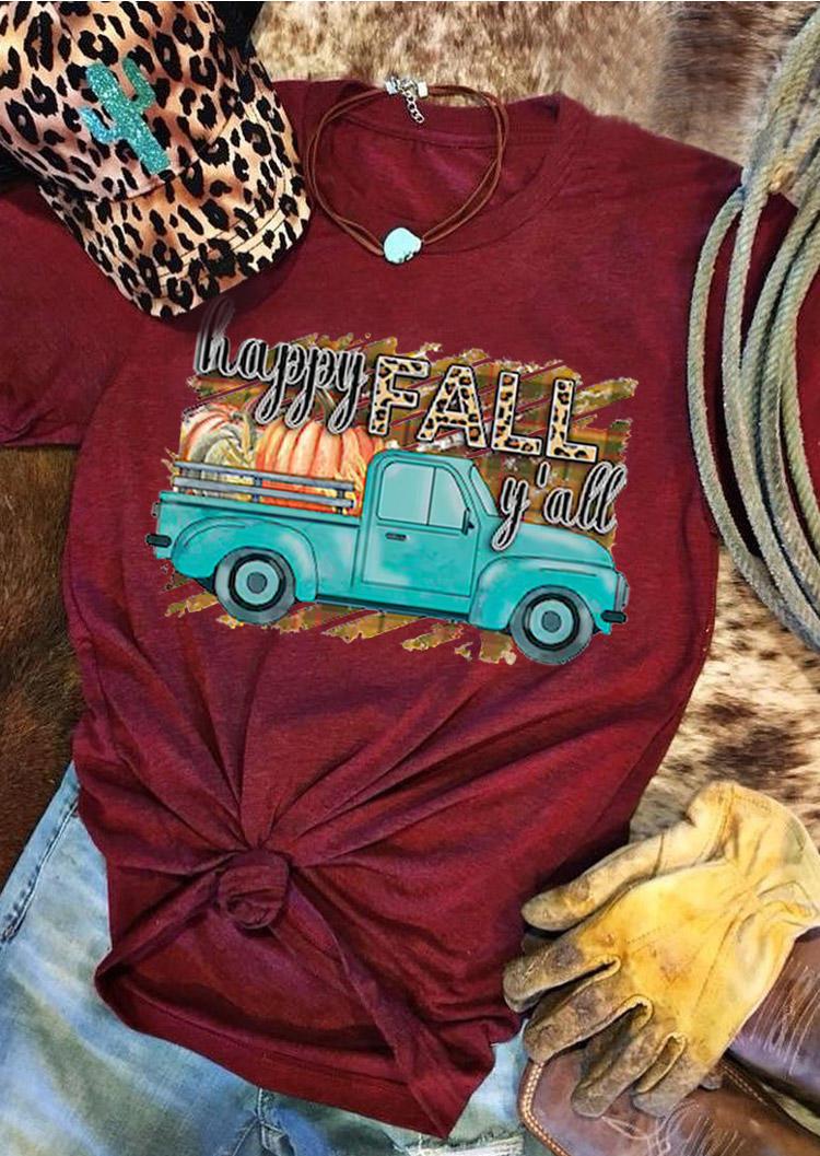 Thanksgiving Happy Fall Leopard Pumpkin T-ShirtTee - Burgundy