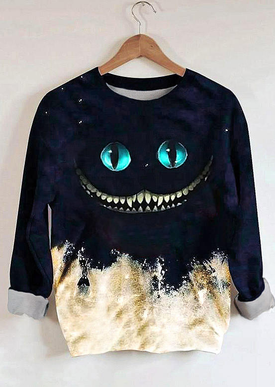 Halloween Skull Ghost Tie Dye Sweatshirts - Navy Blue