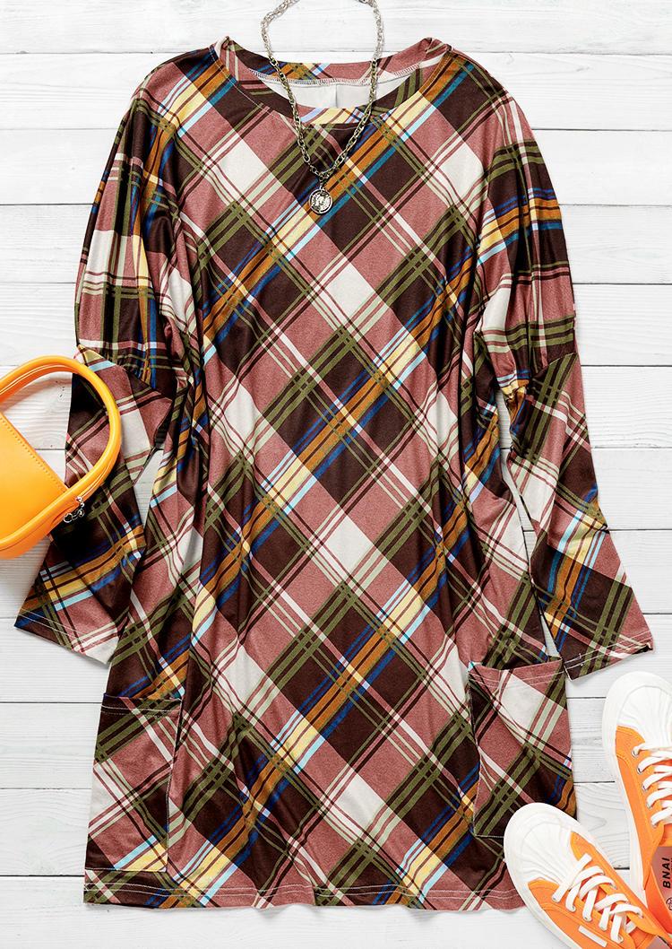 Plaid Pocket Long Sleeve Mini Dress