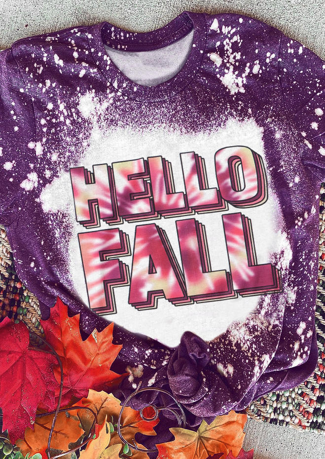 Hello Fall Bleached T-ShirtTee - Purple