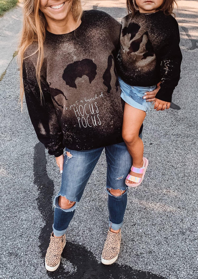 Halloween Horror Movie Graphic Bleached Sweatshirt - Black