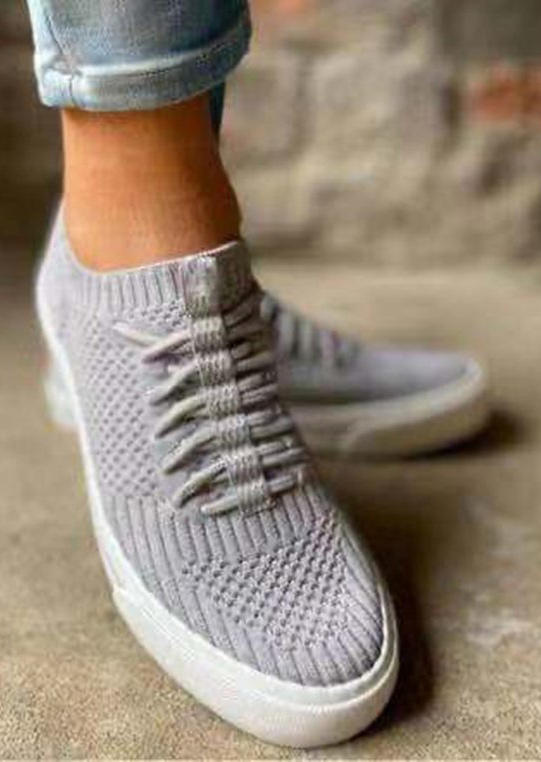 Mesh Lace Up Breathable Sneakers - Gray