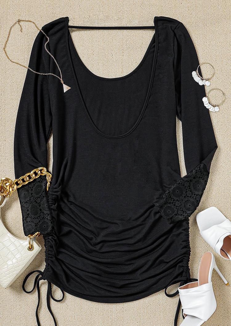 Lace Splicing Open Back Ruffled Drawstring Mini Dress - Black