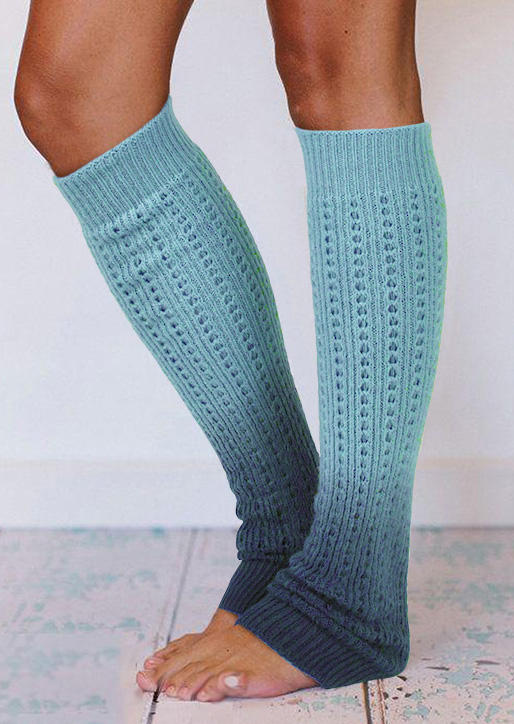 Knee-High Socks Gradient Knitted Leg Warmers Socks in Purple,Light Blue,Khaki. Size: One Size