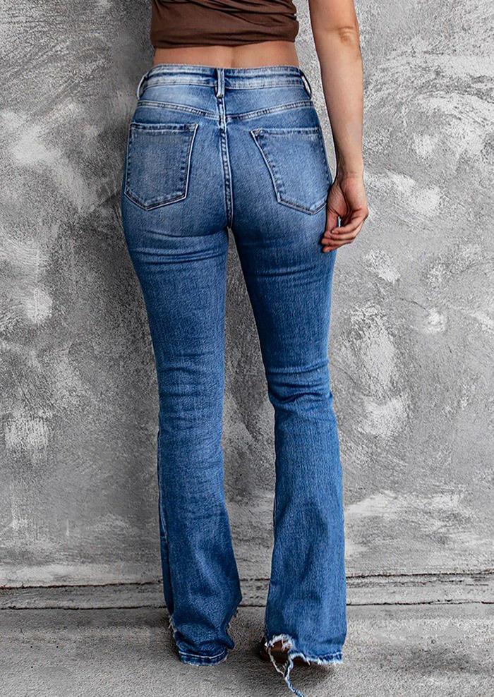 Ripped Frayed Button High Waist Denim Pants - Blue