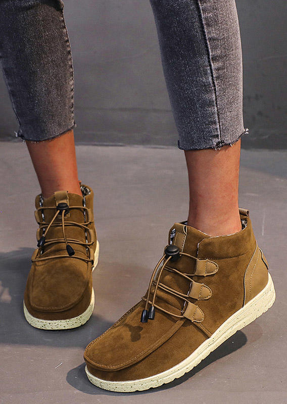 Boots Warm Lace Up Ankle Martin Boots in Brown. Size: 37,38,39,40,41