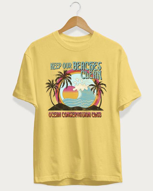 Keep Our Beaches Clean T-Shirt Tee - Light Yellow