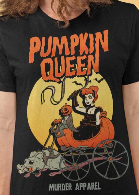 Halloween Pumpkin Queen T-Shirt Tee - Black
