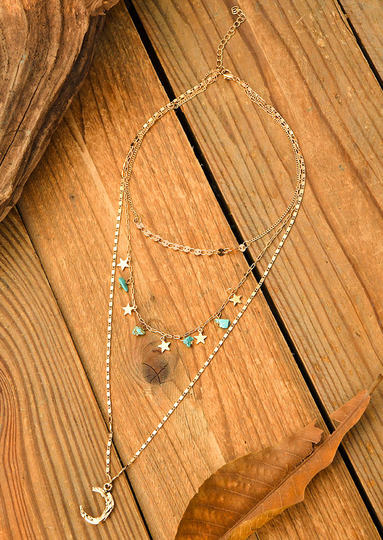 Turquoise Star Crescent Moon Multi-Layered Necklace