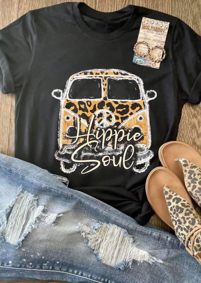 Hippie Soul Leopard Camping T-ShirtTee - Black