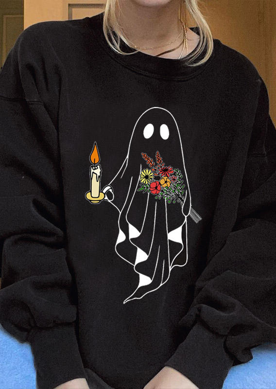 Halloween Ghost Floral Sweatshirt - Apricot
