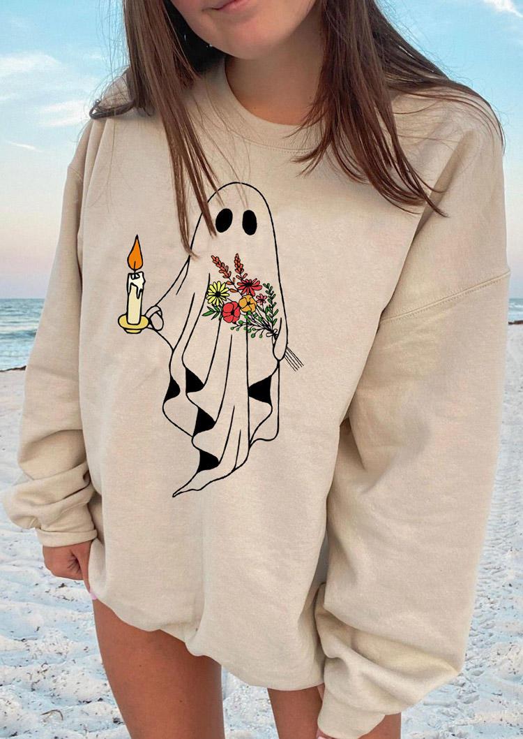 Halloween Ghost Floral Sweatshirt - Black