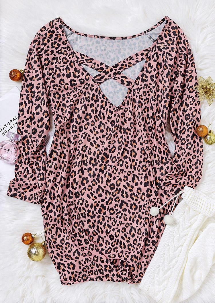 Leopard Criss-Cross Open Back Mini Dress