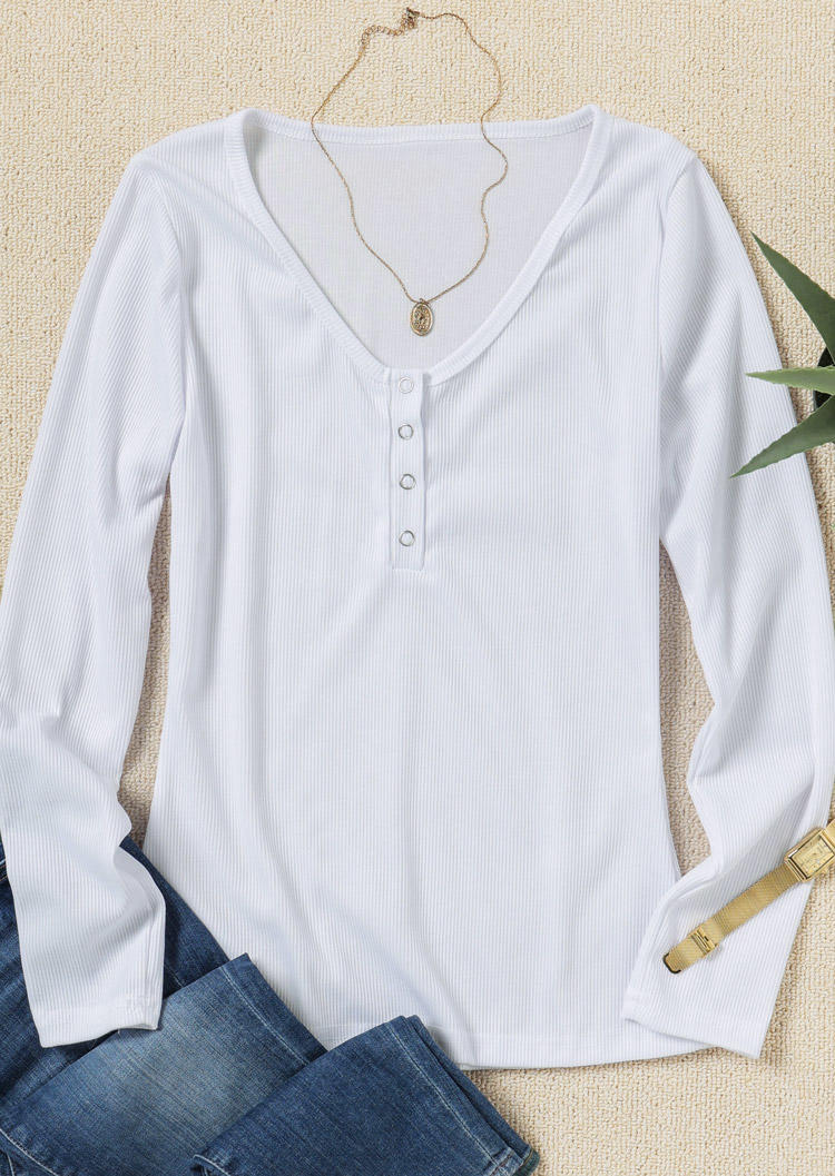 Button Pullover LongSleeve Blouse - White