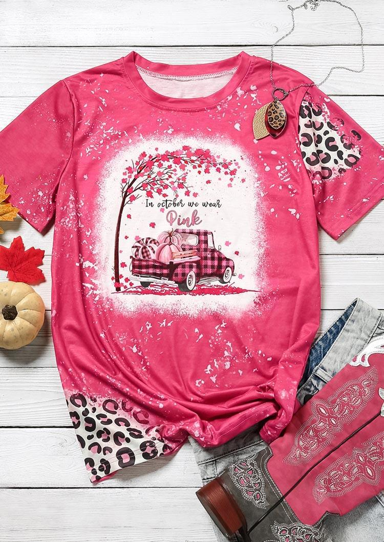In October We Wear Pink Pumpkin Bleached T-ShirtTee - Rose Red