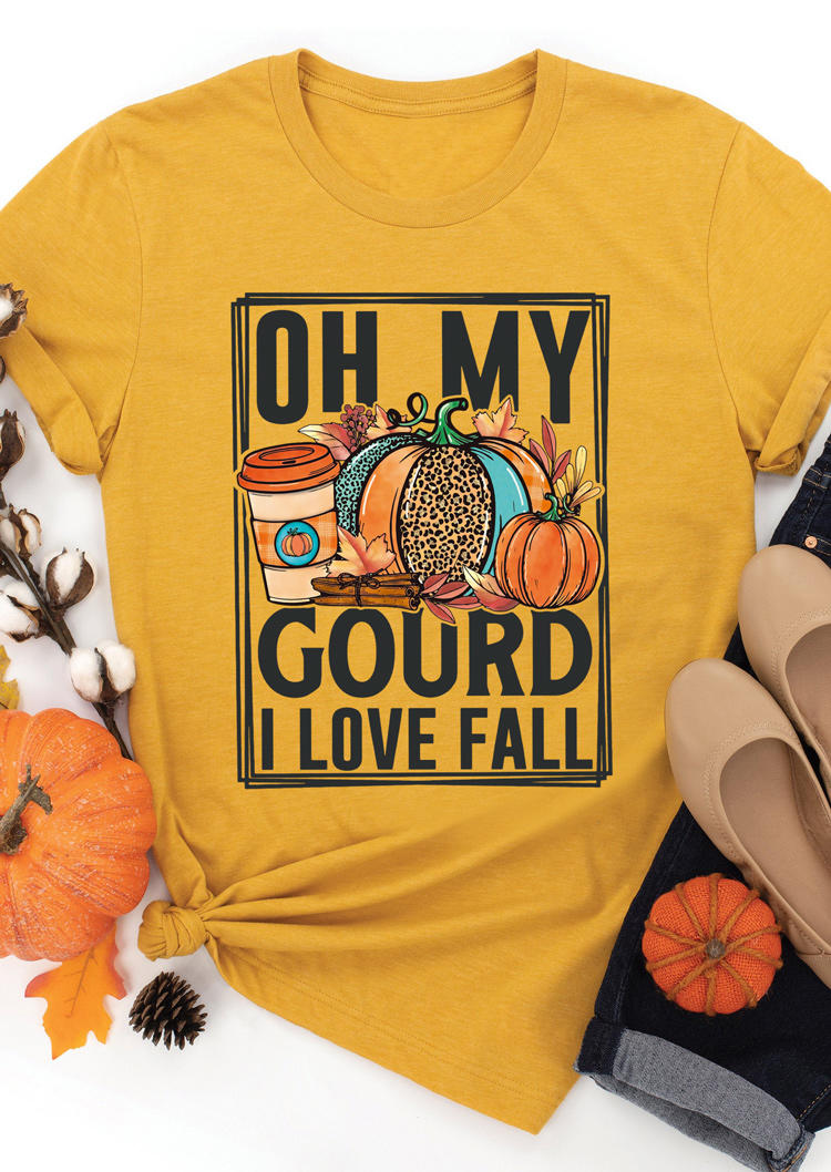 Thanksgiving Oh My Gourd I Love Fall Pumpkin T-ShirtTee - Yellow