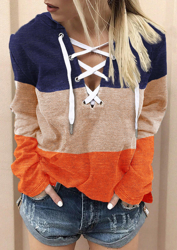 Color Block Lace Up Long Sleeve Hoodie