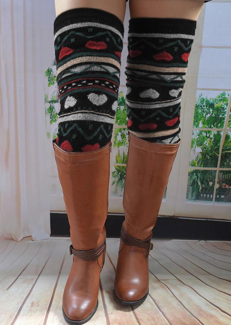 Striped Heart Warm Thigh-High Socks