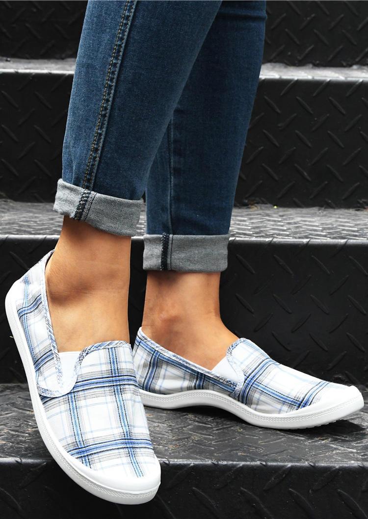 Striped Plaid Slip On Flat Sneakers - Blue