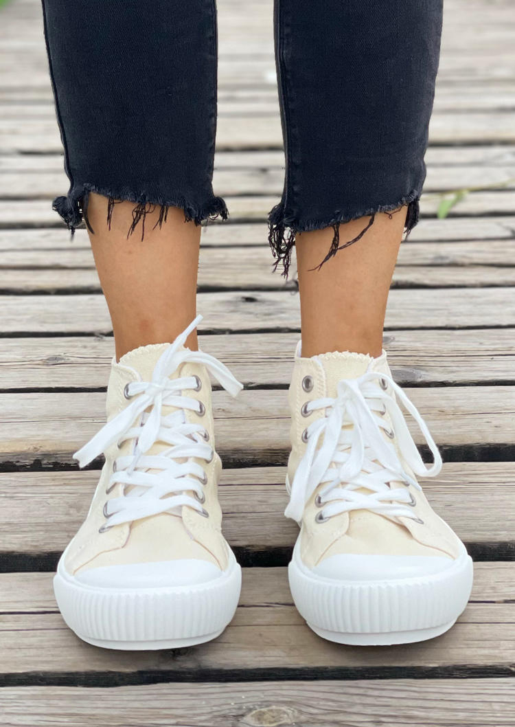 High Top Lace Up Canvas Sneakers - Beige
