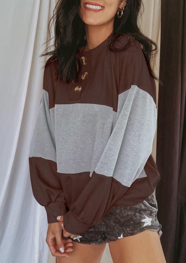 Color Block Button Long Sleeve Sweatshirt - Coffee
