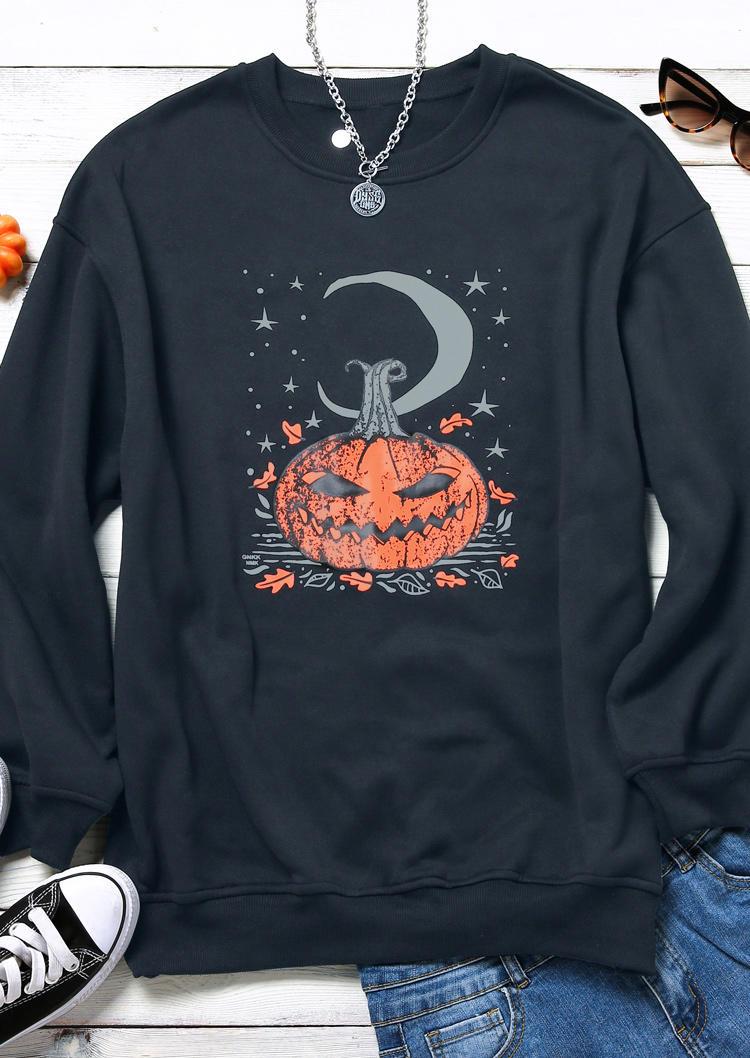 Halloween Pumpkin Face Star Moon Sweatshirt - Black