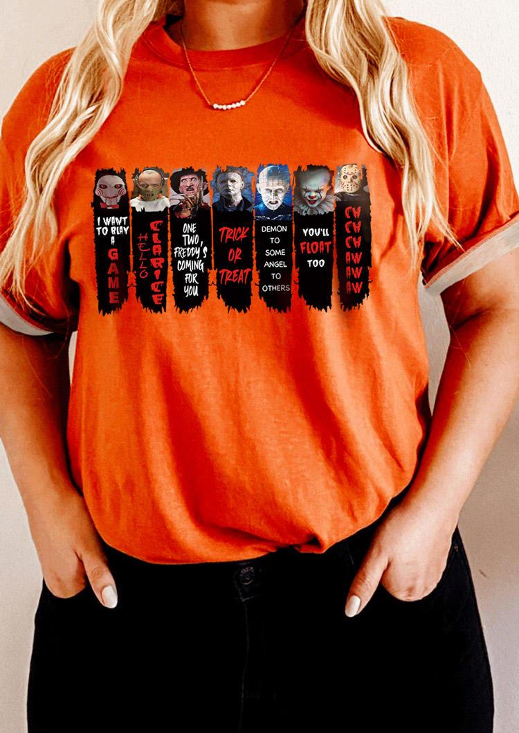 Halloween Horror Movie Character T-Shirt Tee - Orange