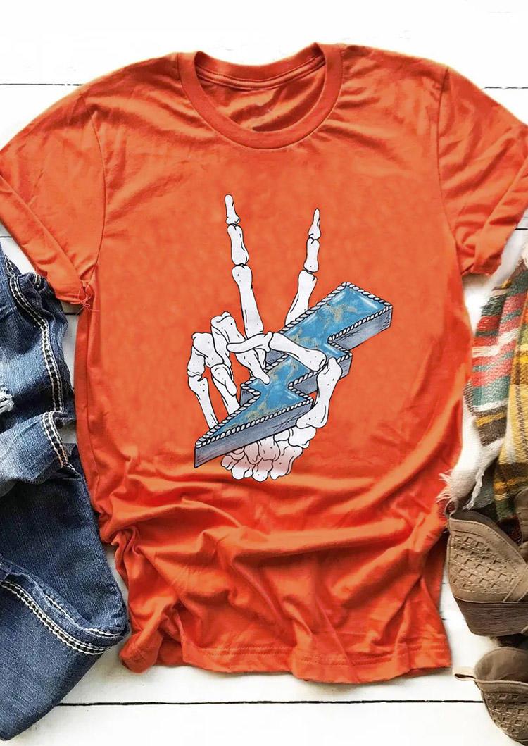 Halloween Skeleton Hand Lightning T-Shirt Tee - Orange