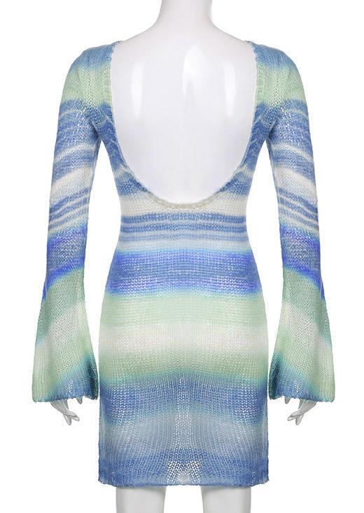 Striped Open Back Knitted Mini Dress - Blue