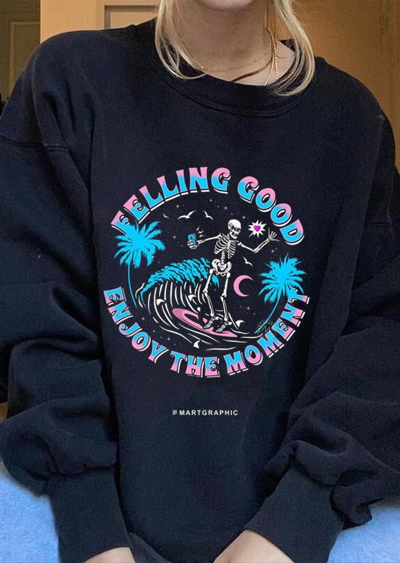Felling Good Skeleton Coconut Moon Waves Sweatshirt - Black