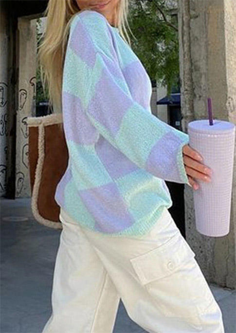 Plaid Drop Shoulder Loose Sweater - Blue