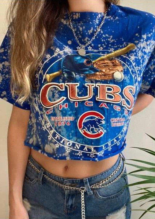 Baseball Club Bleached O-Neck T-Shirt Tee - Blue