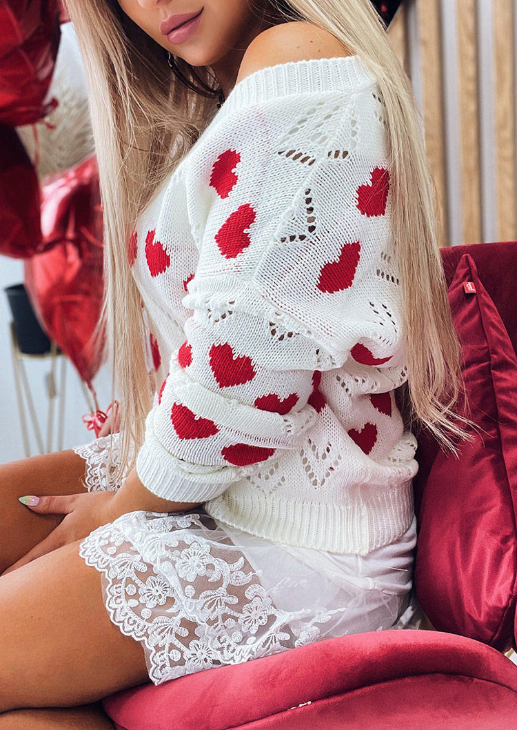 Love Heart Hollow Out Knitted V-Neck Sweater - White