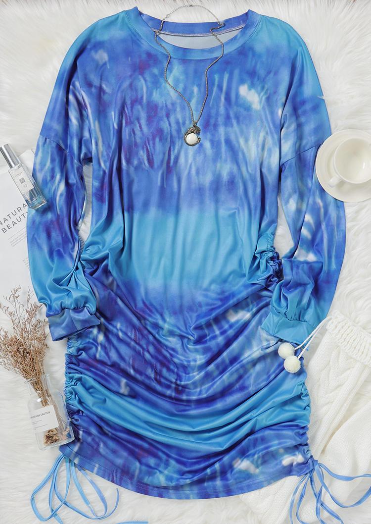 Tie Dye Ruched Drawstring Mini Dress - Blue