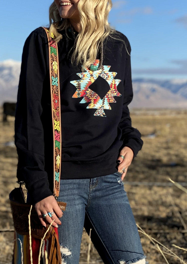 Aztec Geometric Long Sleeve Sweatshirt - Black