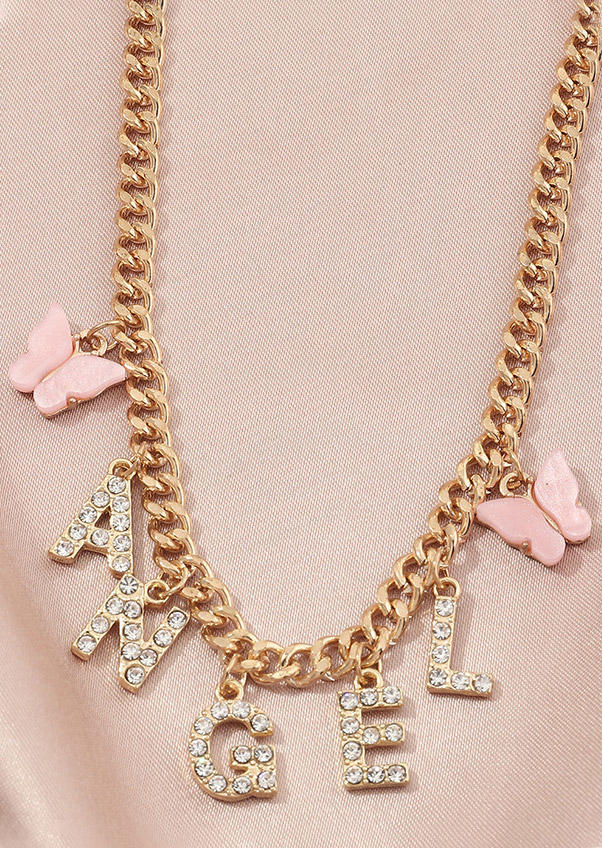 Angel Butterfly Rhinestone Pendant Necklace - Gold