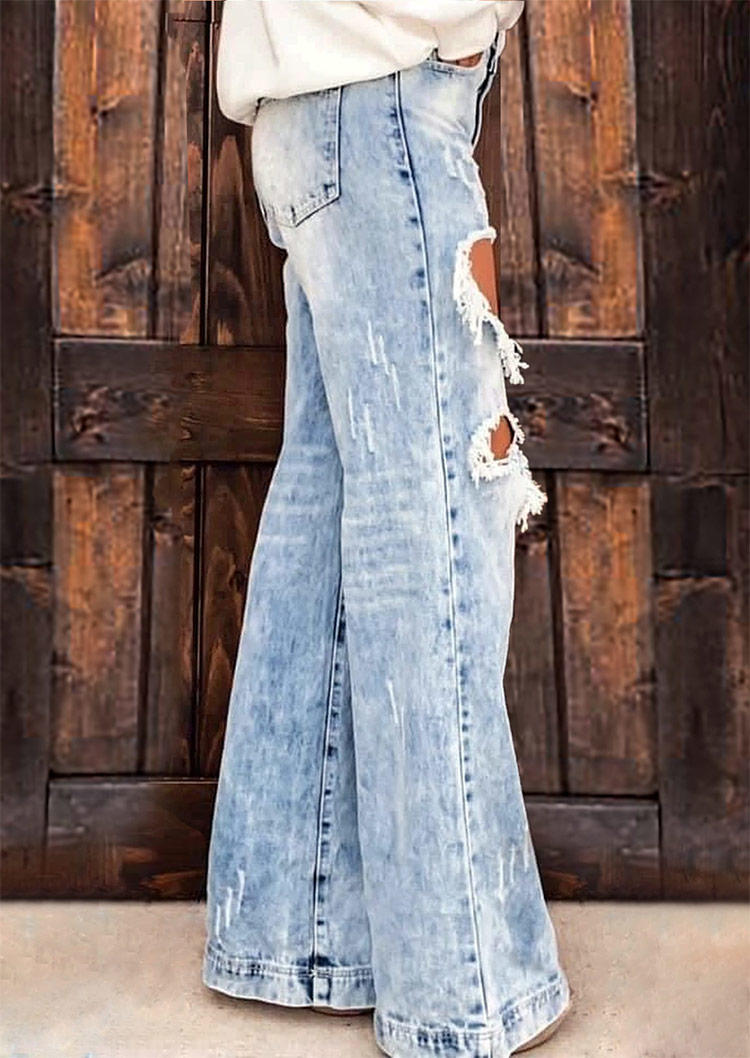 Ripped Hole Pocket Jeans Pants - Blue